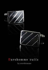 eurohomme No.CS22 black pearl cross frame cuffs